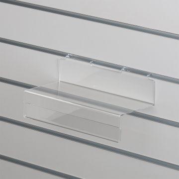 Skohylde med forkant for datablad til panelplader - klar akryl<br />mål L30xD12,5 cm - forkant H6,4 cm
