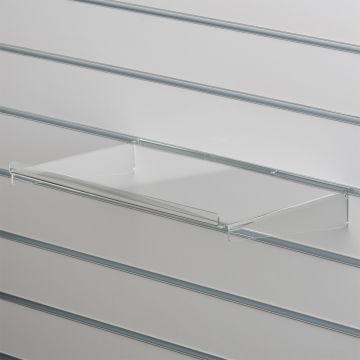 Akrylhylde i klar akryl for rillepaneler<br />lige hylde med opbukket forkant og nedbukkede sider<br />mål B40xD28 cm - forkant måler 1,3 cm