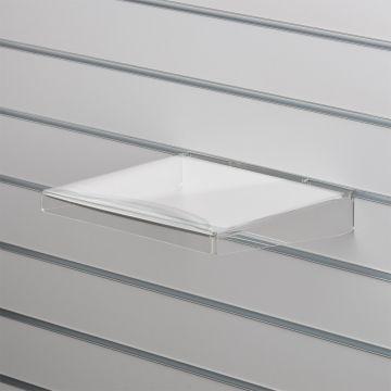 Akrylhylde i klar akryl for rillepaneler - lige med nedbukkede sider og forkant<br />mål B30xD30 cm