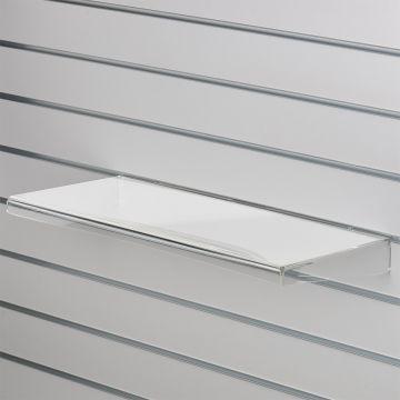 Akrylhylde i klar akryl for rillepaneler - lige hylde med nedbukket forkant og sider<br />mål B59,5xD20 cm