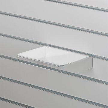 Akrylhylde i klar akryl for rillepaneler - lige med nedbukkede sider og forkant<br />mål B25xD20 cm