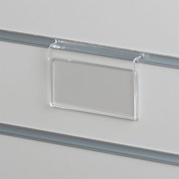 Pris skilteholder i klar akryl for panelplader<br />passer til datablad papir i L10xH5 cm