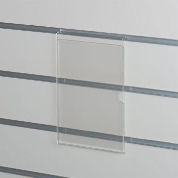 Skilteholder i klar akryl for panelplader - A5 stående<br />passer til format 21,0 x 14,8 cm papir