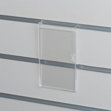 Skilteholder i klar akryl for panelplader - A6 stående<br />passer til format 10,5 x 15 cm papir
