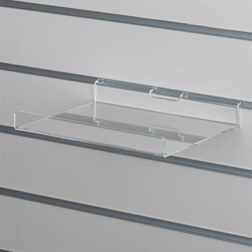 Akrylhylde i klar akryl for rillepaneler - lige hylde med opbukket forkant<br />mål B25xD20 cm - forkant måler 2,8 cm