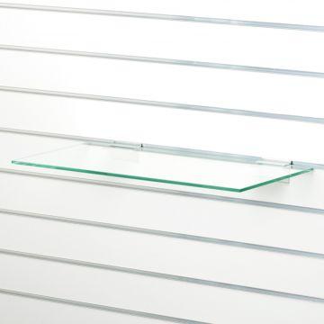 Glashylde i klart glas til rillepanel - findes i 3 forskellige overflader<br />mål L60xD21 cm - tykkelse 8 mm