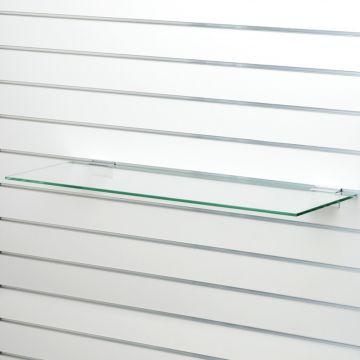 Glashylde i klart glas til rillepanel - findes i 3 forskellige overflader<br />mål L90xD21 cm - tykkelse 8 mm