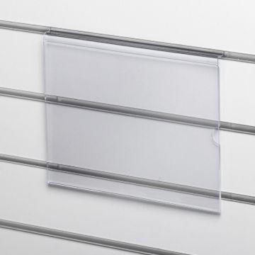 Skilteholder til A4 i liggende format - for panelplader<br />passer til format 21x29,6 cm papir - 2 mm klar akryl