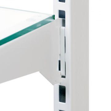 Låseclips for søjle til glashylder i hvid aluminium