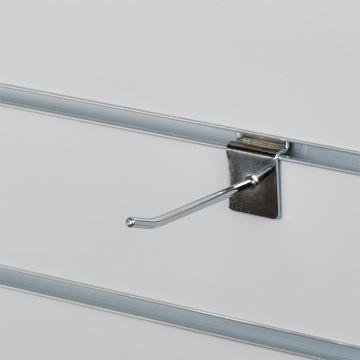 Varekrog enkel for rillepanel - chrom<br />mål L10 cm - tykkelse Ø0,48 mm