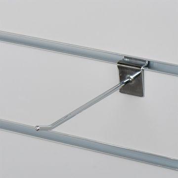 Varekrog enkel for rillepanel - chrom<br />mål L15 cm - tykkelse Ø0,48 mm