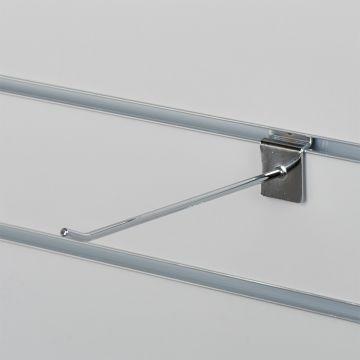 Varekrog enkel for rillepanel - chrom<br />mål L20 cm - tykkelse Ø0,48 mm