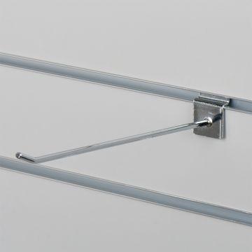 Varekrog enkel for rillepanel - chrom<br />mål L25 cm - tykkelse Ø0,48 mm
