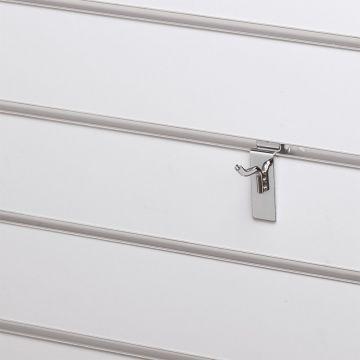 Varekrog enkel for rillepanel - overflade i chrom<br />mål L2,5 cm - trådtykkelse 5 mm