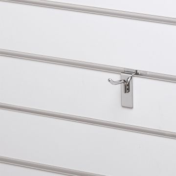 Varekrog enkel for rillepanel - overflade i chrom<br />mål L5 cm - trådtykkelse 6 mm