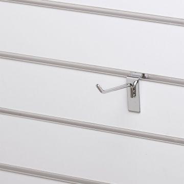 Varekrog enkel for rillepanel - overflade i chrom<br />mål L10 cm - trådtykkelse 5 mm