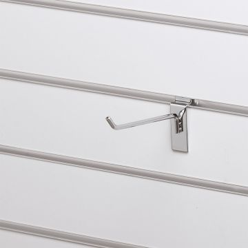 Varekrog enkel for rillepanel - overflade i chrom<br />mål L15 cm - trådtykkelse 5 mm