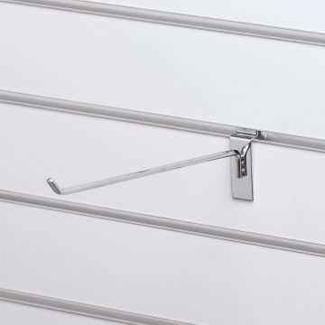 Varekrog - enkelt for rillepanel - overflade i chrom<br />mål L30 cm - trådtykkelse 6 mm