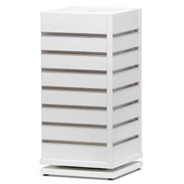 Hvid borddisplay i rillepanel - panel på 4 sider<br />mål H45xB20xD20 cm - spor 5 cm