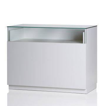 Butiksdisk i hvid inkl. topplade i glas - udtræksplade i hele bredden - inkl. 2 hylder<br />mål længde 120 cm - diskdybde 60 cm