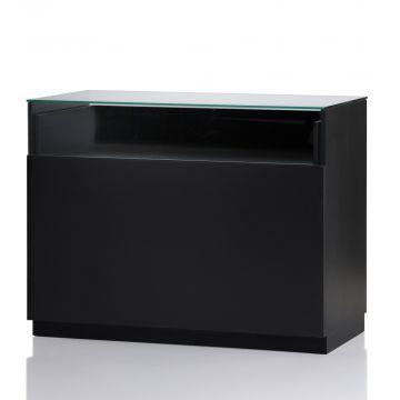 Butiksdisk i sort inkl. glas topplade - udtræksplade i hele bredden - 2 hylder<br />mål L120xD60x92,5 cm