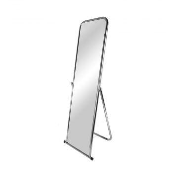 Gulvspejl chrom stel - spejlet har halvbuet top og fast vinkel<br />mål H150xB50 cm