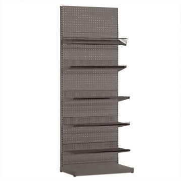 Butiksreol i værkstedsplade - grå inkl. trådhylder og hylder<br />mål H240xB90 cm