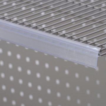 Hyldeforkant til trådhylde i transparent plast - klikkes på<br />mål 26x885 mm