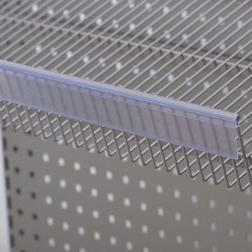 Hyldeforkant til trådhylde i transparent plast - klikkes på<br />mål 39x885 mm