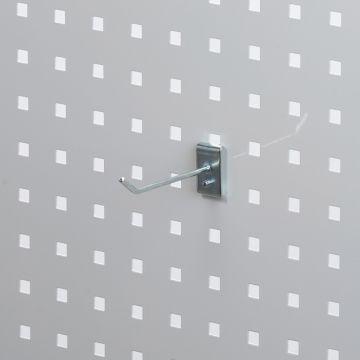Værktøjsophæng - dobbelt varekrog i zink - til hulplade med firkanthuller<br /> mål 10 cm - trådtykkelse Ø4 cm