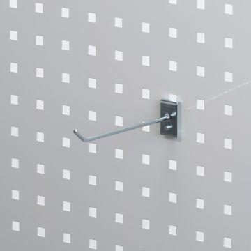 Værktøjsophæng - dobbelt varekrog i zink - til hulplade med firkanthuller<br /> mål 15 cm - trådtykkelse Ø4 cm
