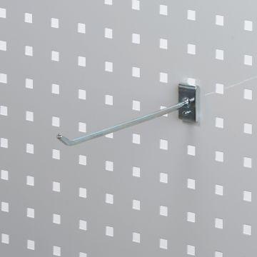 Værktøjsophæng - dobbelt varekrog i zink - til hulplade med firkanthuller<br /> mål 20 cm - trådtykkelse Ø6 cm