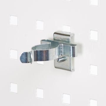 Fjederklemme for hulplader til Ø31 mm emner - overflade i zink<br />passer til firkantede hulplader
