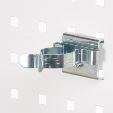 Fjederklemme for hulplader til Ø37 mm emner - overflade i zink<br />passer til firkantede hulplader