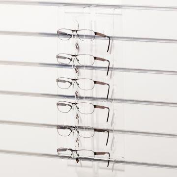 Solbrilledisplay til 6 briller for panelplade<br />mål H47 cm - klar plexiglas