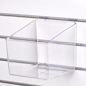 Akryl boks for rillepanel - sprøjtestøbt klar plast<br />mål B21xD21 cm - højde 15 cm fortil og 20 cm bagtil
