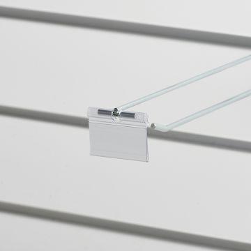 Prislomme til kroge med prisarm - transparent plast<br />mål B52xH26 cmm - til etikethøjde 26 mm