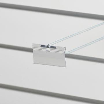 Prislomme til kroge med prisarm - transparent plast<br />mål B70xH26 cmm - til etikethøjde 26 mm