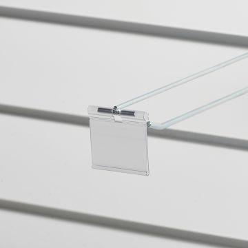 Prislomme til kroge med prisarm - transparent plast<br />mål B52xH40 cmm - til etikethøjde 39 mm