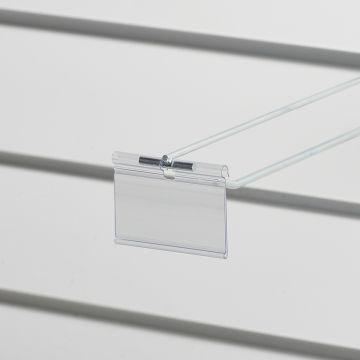 Prislomme til kroge med prisarm - transparent plast<br />mål B70xH40 cmm - til etikethøjde 39 mm