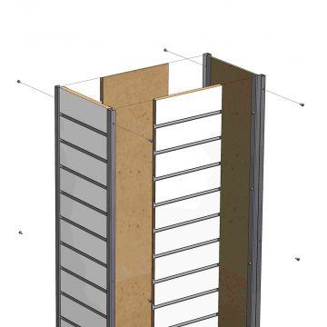 Slatwall til søjler i butikken | 4 hvide