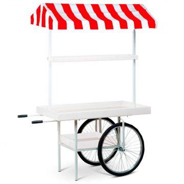 Markedsvogn i rød hvid - stribet markise<br />hvid lakerede trærammer<br />mål H205xB75xL150 cm