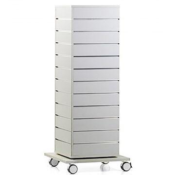 Drejelig hvid stander i rillepanel - drejelig og tåler megen vægt<br />mål H135xB40xD40 cm - super kvalitet