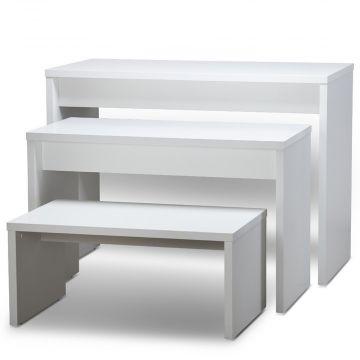 Oplægsbord som sæt - hvid melaminfolie - STÆRK PRIS<br />sættet består af 3 borde i 3 størrelser<br />mål lille L100xB60xH45 cm - mellem L120xB60xH77 cm - stor L140xB70xH100 cm
