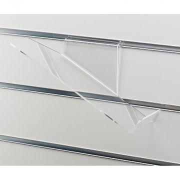 Skohylde skråtstillet med stopkant - højre version i klar akryl<br />mål L26xD10 cm