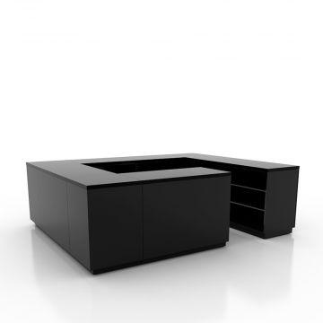 Disk opsætning i sort - 4-sidet betjening - inkl. justerbare hylder i hver sektion<br />mål udvendig 300x240 cm - diskdybde 60 cm - højde 92,5 cm