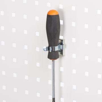 Fjederklemme for hulplader til Ø25 mm emner - overflade i zink<br />passer til firkantede hulplader