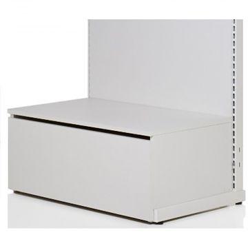 Bundpodie med skuffe i hvid melamin skuffe H37xD50 cm<br />kan sættes på foden af vores 90 cm butiksinventar systemer