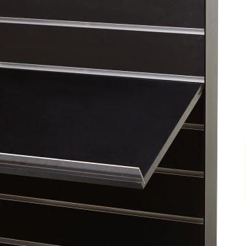 Træhylde i sort melamin med acrylforkant på 3 cm -  mål 90 x 40 cm
