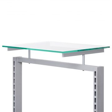 Topholder for gulvstativ inkl. glashylde i klar overflade<br />glas mål H0,8xB44xD34 cm